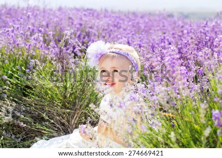 Beautiful little child girl is playing in a field of lavender flowers - stock photo