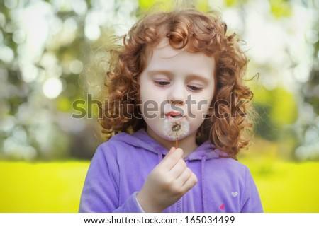 Beautiful little curly girl blowing dandelion - stock photo