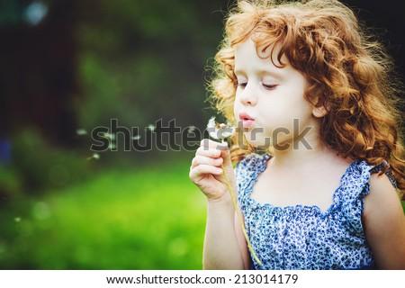 Beautiful little curly girl blowing dandelion, horizontal shot. - stock photo