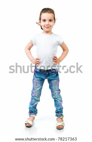 beautiful little fashion model on white background - stock photo