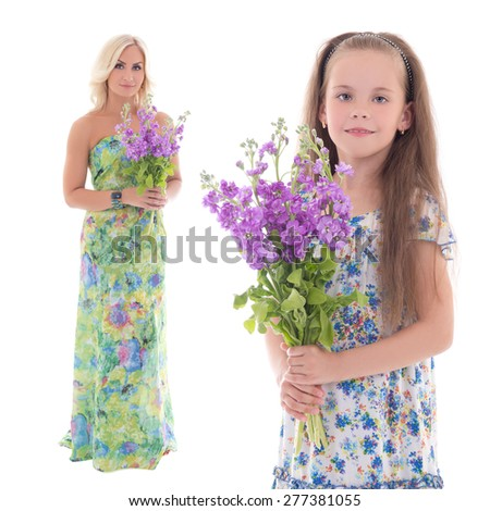 beautiful little girl and her mother with summer flowers isolated on white background