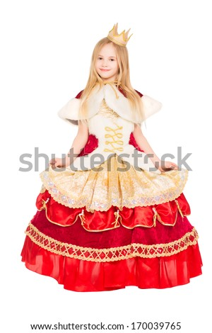 Beautiful little girl dressed in luxury red dress. Isolated on white - stock photo