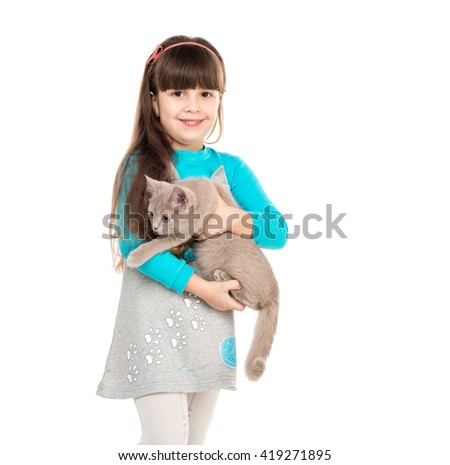 beautiful little girl holding gray cat in hands isolated on white background - stock photo