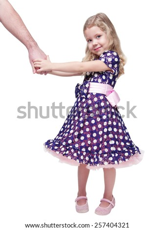 Beautiful little girl holding hand of her father isolated over white background - stock photo