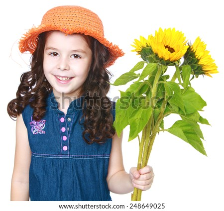 Beautiful little girl in a hat and holding flowers.Isolated on white background, Lotus Children's Center - stock photo