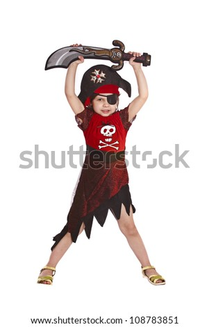 beautiful little girl in a pirate costume isolated - stock photo