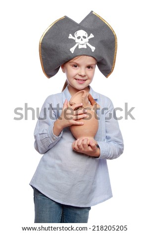 Beautiful little girl in a pirate hat over white/Pirate cute kid - stock photo