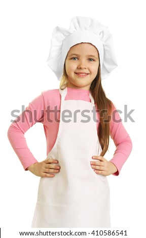 Beautiful little girl in chef uniform isolated on white - stock photo