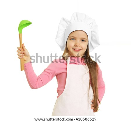 Beautiful little girl in chef uniform with ladle isolated on white