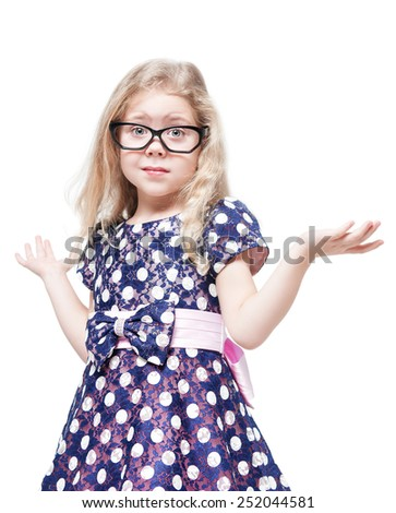 Beautiful little girl in glasses confused isolated over white background - stock photo