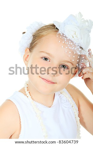 Beautiful little girl in princess dress. Isolated over white background. - stock photo