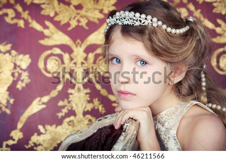 beautiful little girl in princess dress with long hair - stock photo