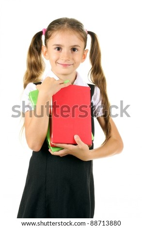 beautiful little girl in school uniform and books isolated on white