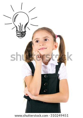 Beautiful little girl in school uniform with idea bulb above the head, isolated on white