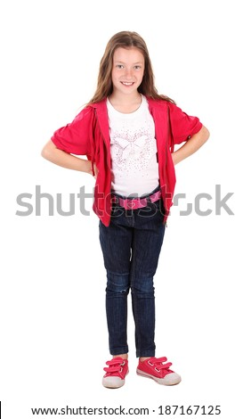 beautiful little girl in sport clothes isolated on white