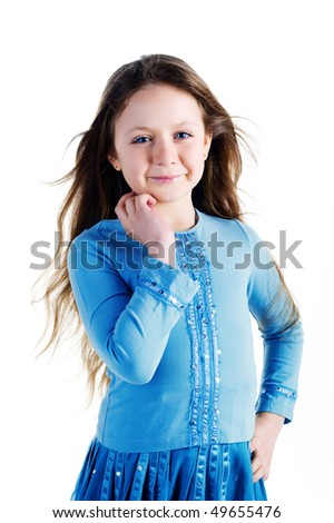 Beautiful little girl. Isolated on a white background - stock photo