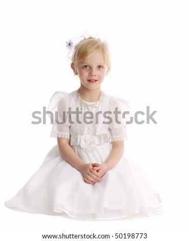 Beautiful little girl isolated on white background - stock photo