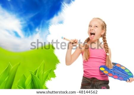 Beautiful little girl painting nature landscape - stock photo