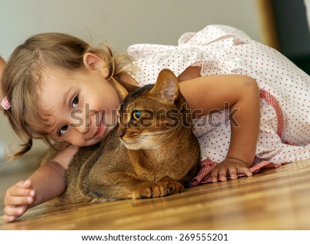 Beautiful little girl playing with a cat Abyssinian. - stock photo