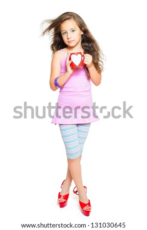 beautiful little girl posing on a white background - stock photo