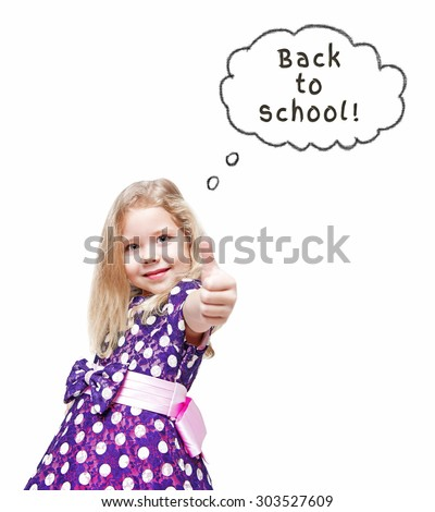 Beautiful little girl showing thumbs up isolated over white. Back to school concept - stock photo