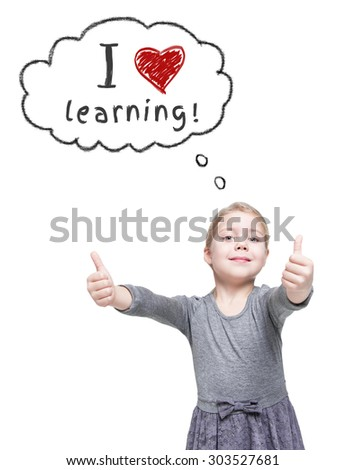Beautiful little girl showing thumbs up isolated over white. School concept  - stock photo