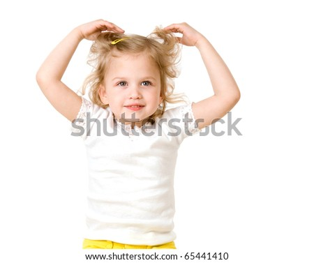 beautiful little girl smiling on white background
