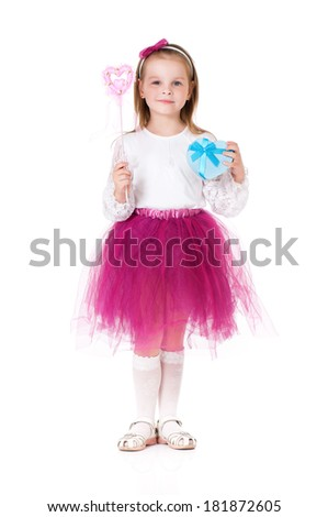 Beautiful little girl wearing fairy costume with magic wand, isolated on white background  - stock photo