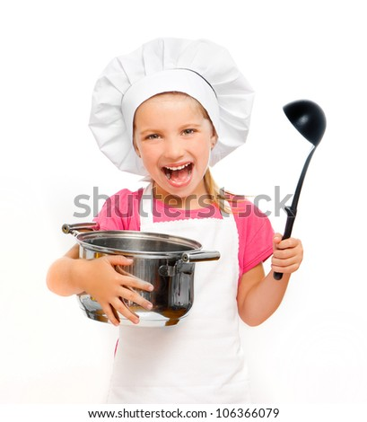 beautiful little girl with a pan and the ladle isolated on white - stock photo