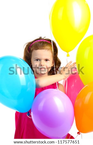 beautiful little girl with balloons isolated on white