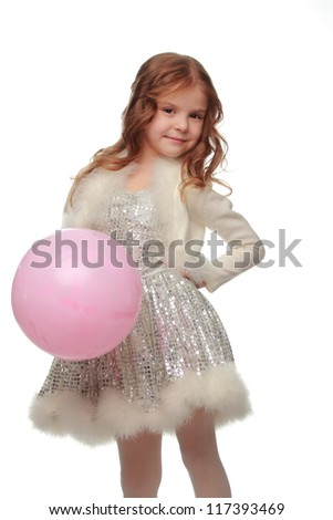 Beautiful little girl with balloons isolated on white on Holiday theme/Blond little girl with pink balloon