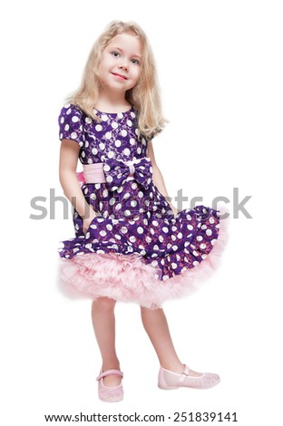 Beautiful little girl with blond hair isolated  - stock photo