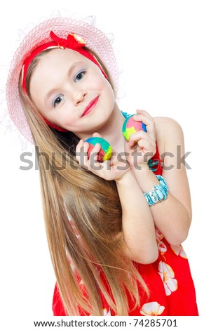 beautiful little girl with easter eggs isolated on white - stock photo