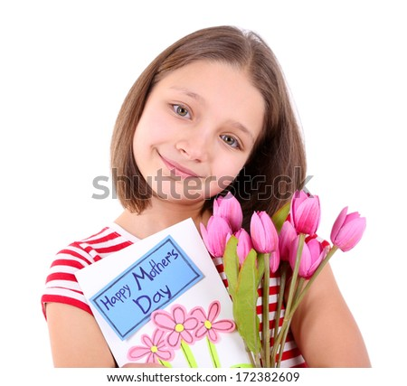 Beautiful little girl with flowers and postcard in her hand, isolated on white - stock photo
