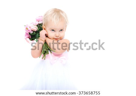 Beautiful little girl with flowers in her hands. Studio shot. Isolated on white background. - stock photo