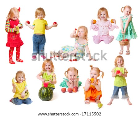 beautiful little girl with fruit - stock photo