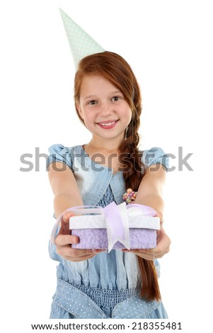 Beautiful little girl with present box isolated on white - stock photo