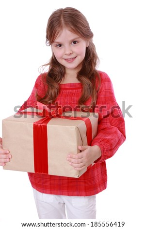 Beautiful little girl with present box on Holiday theme/Caucasian kid holding gift box