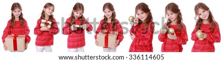 Beautiful little girl with present box on Holiday theme/Caucasian kid holding gift box - stock photo