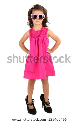 beautiful little girl with sunglasses isolated on white