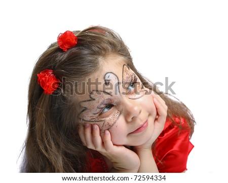 beautiful little girl 5 years - stock photo