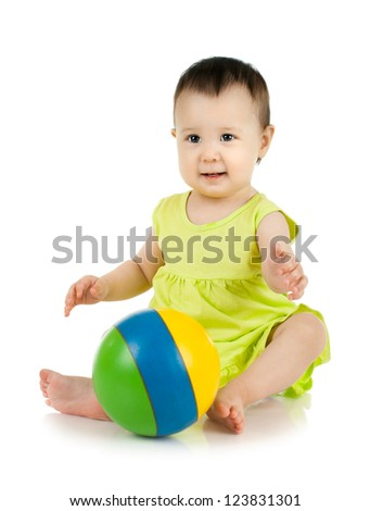 beautiful  little kid , play with ball on white background, isolated