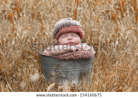 Beautiful little newborn baby in a fall outside portrait.