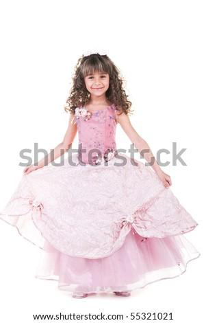 Beautiful little princess dancing in luxury dress - stock photo