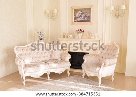 beautiful living room in classic style - stock photo