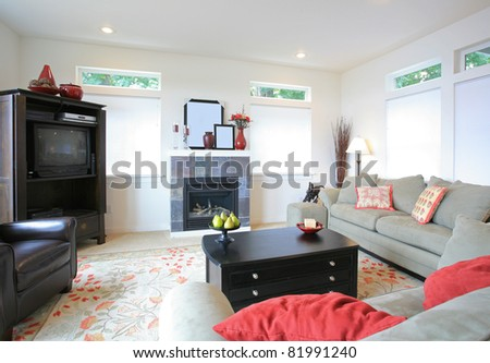 Beautiful Living Room in Luxurious New Home - stock photo
