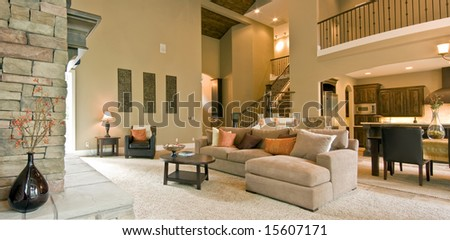 Beautiful Living Room Panorama in Modern Home - stock photo
