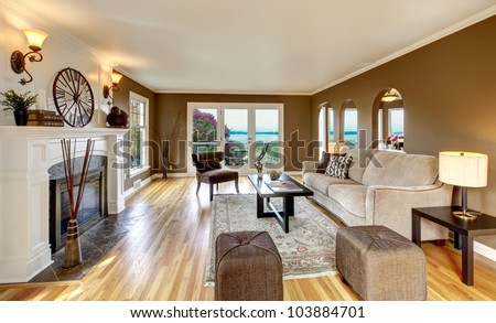 Beautiful living room with brown walls and fireplace. - stock photo