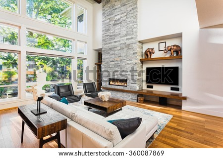 Beautiful Living Room Hardwood Floors Fireplace Stock Photo