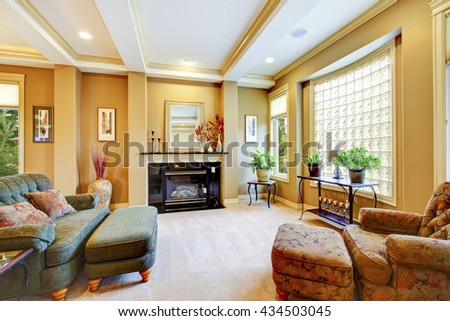 Beautiful living room with large window,  fireplace and trimmed ceiling. Lots of decor. - stock photo